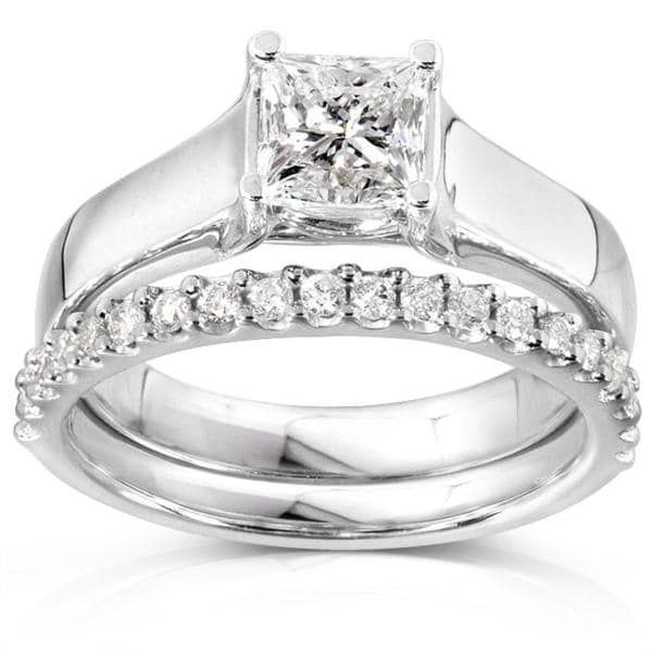 Annello by Kobelli 14k Gold 1 1/4ct TDW Princess Solitaire 2-Piece Diamond Bridal Set (H-