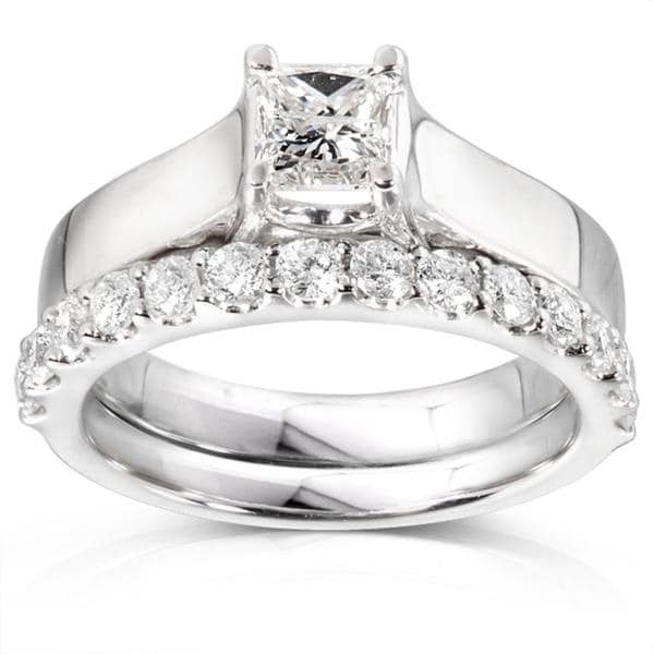 Annello by Kobelli 14k White Gold 1ct TDW Diamond Bridal Ring Set (H-I, I1-I2)