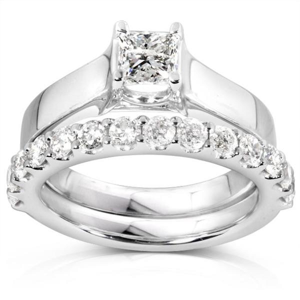 Annello by Kobelli 14k White Gold 1 1/4ct TDW Diamond Bridal Ring Set (H-I, I1-I2)