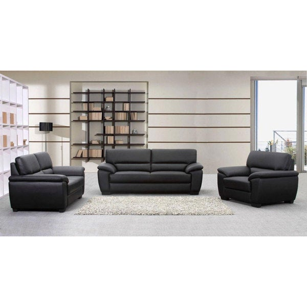 Oxford Black Leather Sofa Loveseat And Armchair Set