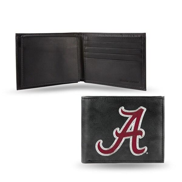 Alabama Crimson Tide Men's Black Leather Bi-fold Wallet