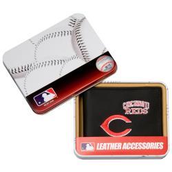 Cincinnati Reds Men's Black Leather Bi-fold Wallet