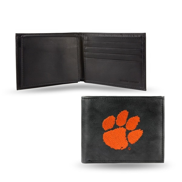 Clemson Tigers Men's Black Leather Bi-fold Wallet