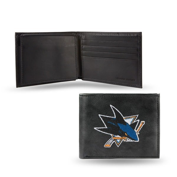 San Jose Sharks Men's Black Leather Bi-fold Wallet