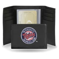 Minnesota Twins Men's Black Leather Tri-fold Wallet