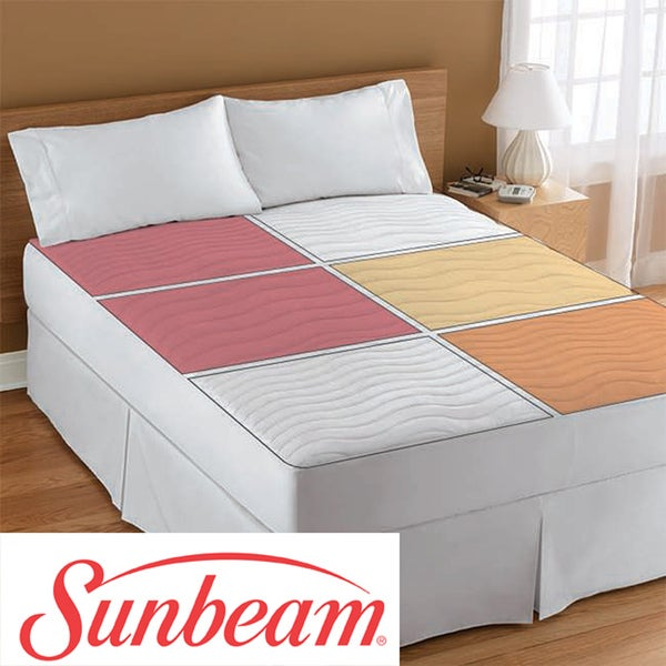 Dual Heated Mattress Pad Sunbeam Therapeutic Queen-size Electric Heated Zone Mattress Pad ...