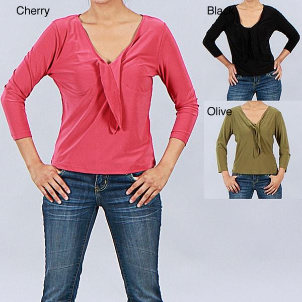 Clara S Women's 3/4-sleeve Tie Neck Top