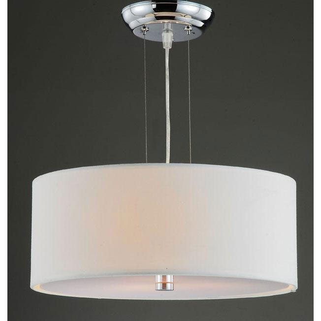 Altea Off-White Shade 3-light Chrome Pendant Chandelier - Thumbnail 0