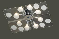 Contemporary Glass 8-light Flushmount Ceiling Chandelier - Thumbnail 2