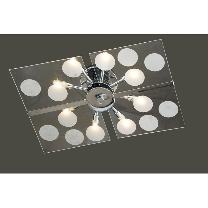 Contemporary Glass 8-light Flushmount Ceiling Chandelier - Thumbnail 0