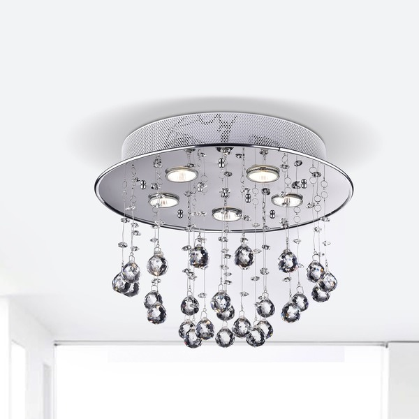 Floating Bubble Chrome And White 5 Light Crystal Chandelier