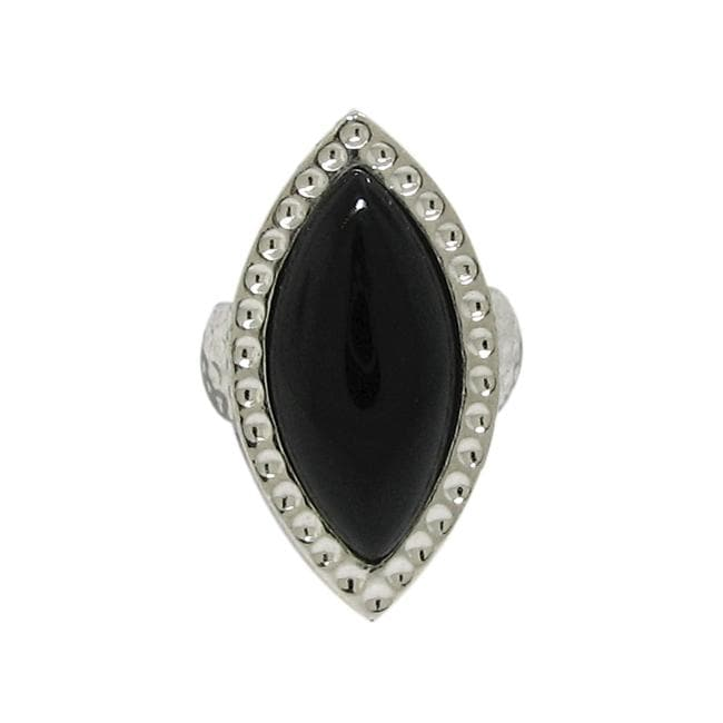 Silvertone Black Onyx Chunky Hammered Ring