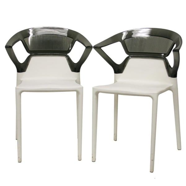 Swap White Plastic Modern Dining Chairs with Grey Backrest (Set of 2)