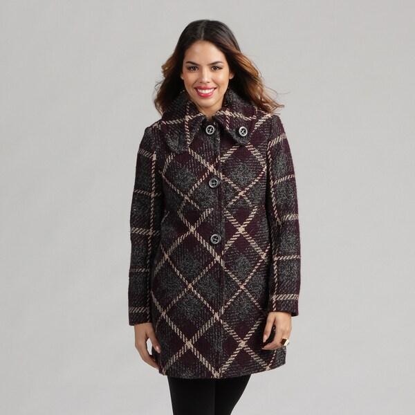 Larry Levine Petite Plaid Wool-blend Coat