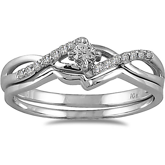Marquee Jewels 10k White Gold 1/6ct TDW 2-Piece Diamond Ring Set