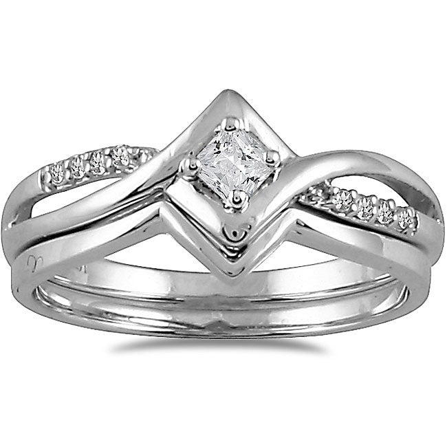 Marquee Jewels 10k White Gold 1/6ct TDW 2-Piece Prong-set Diamond Ring Set (I-J, I1-I2)