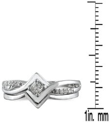 Marquee Jewels 10k White Gold 1/6ct TDW 2-Piece Prong-set Diamond Ring Set (I-J, I1-I2) - Thumbnail 2