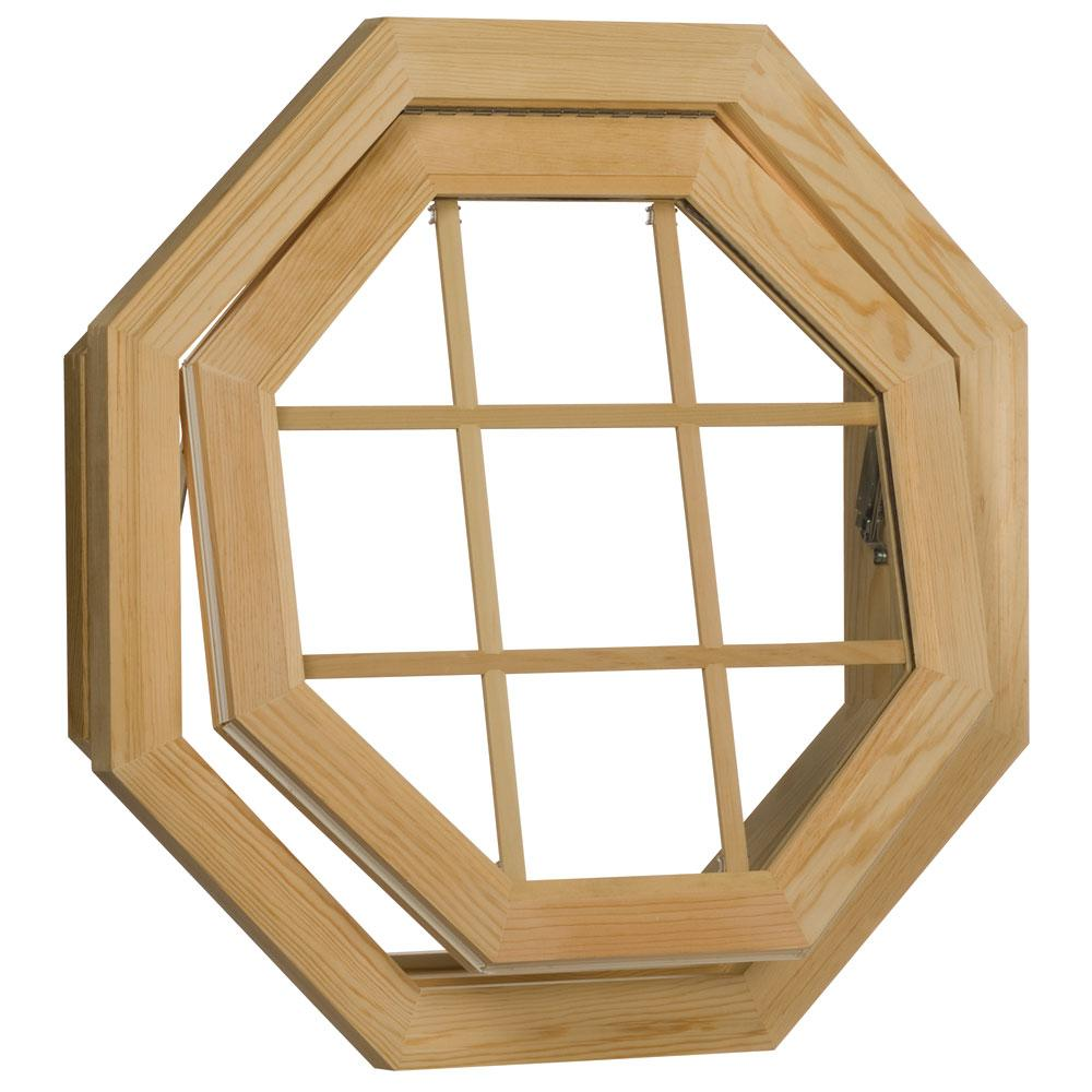 O Century Unfinished Wood Operating Clear Insulated Glass Octagon Window