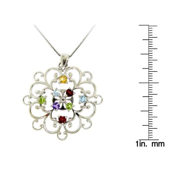 Sterling Silver Semi-Precious Stone Necklace