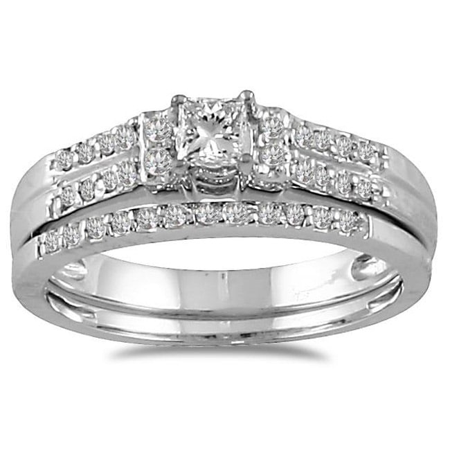 Marquee Jewels 10k White Gold 2/5ct TDW Prong-set Diamond Bridal Ring Set (I-J, I1-I2)