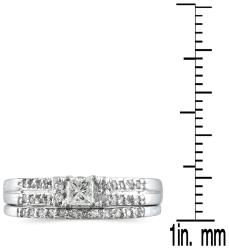 Marquee Jewels 10k White Gold 2/5ct TDW Prong-set Diamond Bridal Ring Set (I-J, I1-I2) - Thumbnail 1