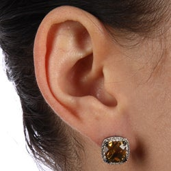 Black-plated Sterling Silver Citrine and 1/4ct TDW Diamond Earrings (J, I2-I3) - Thumbnail 2