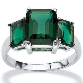 PalmBeach Emerald-Cut Green Mount St. Helens-Inspired Crystal Ring in .925 Sterling Silver Color Fun