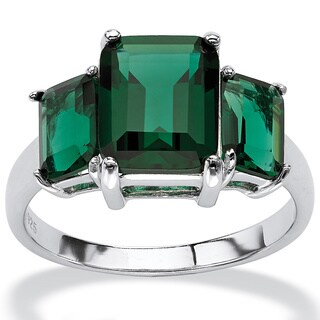.925 Sterling Silver Emerald-Cut Green Mount St. Helens-Inspired Crystal Ring (3 options available)