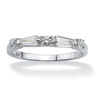 PalmBeach .98 TCW Round and Baguette Cubic Zirconia Ring in Sterling Silver Classic CZ