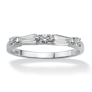 Sterling Silver Cubic Zirconia Wedding Band Ring - White (More options available)