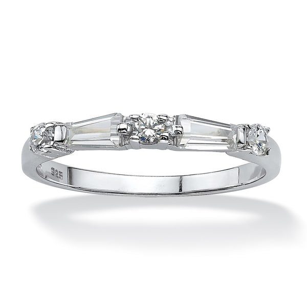 .98 TCW Round and Baguette Cubic Zirconia Ring in Sterling Silver Classic CZ