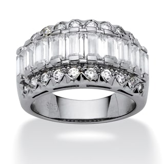 3.78 TCW Baguette Cut Cubic Zirconia Platinum over Sterling Silver Ring Classic CZ