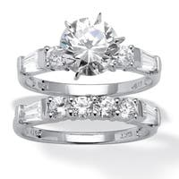 10K White Gold Cubic Zirconia Bridal Ring Set