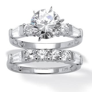 2 Piece 360 TCW Round Cubic Zirconia Bridal Ring Set In 10k White Gold Classic CZ