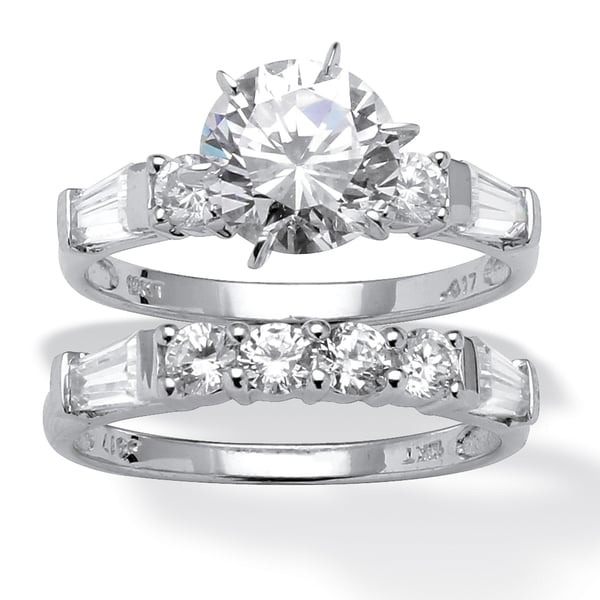 2 Piece 3.60 TCW Round Cubic Zirconia Bridal Ring Set in 10k White Gold Classic CZ