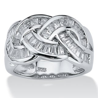1.80 TCW Baguette Cut Cubic Zirconia Channel-Set Ring in Platinum over .925 Sterling Silve