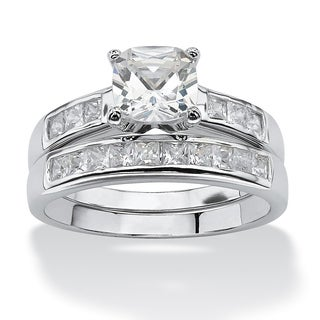 PalmBeach 2 Piece 1.94 TCW Cushion-Cut Cubic Zirconia Bridal Set in Platinum over Sterling Silver Classic CZ