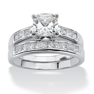 Platinum over Sterling Silver Cubic Zirconia Bridal Ring Set (More options available)