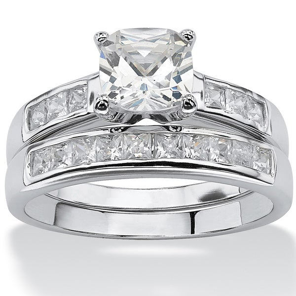2 Piece 1.94 TCW Cushion-Cut Cubic Zirconia Bridal Set in Platinum over Sterling Silver Cl