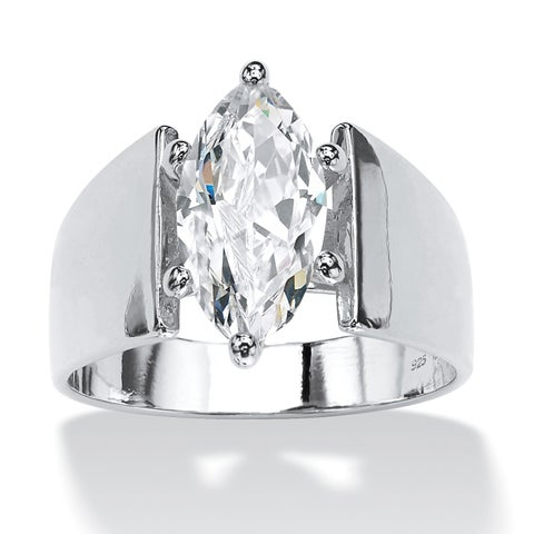 Sterling Silver Cubic Zirconia Wide Band Solitaire Engagement Ring - White