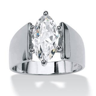 2.11 TCW Marquise-Cut Cubic Zirconia Sterling Silver Ring Glam CZ