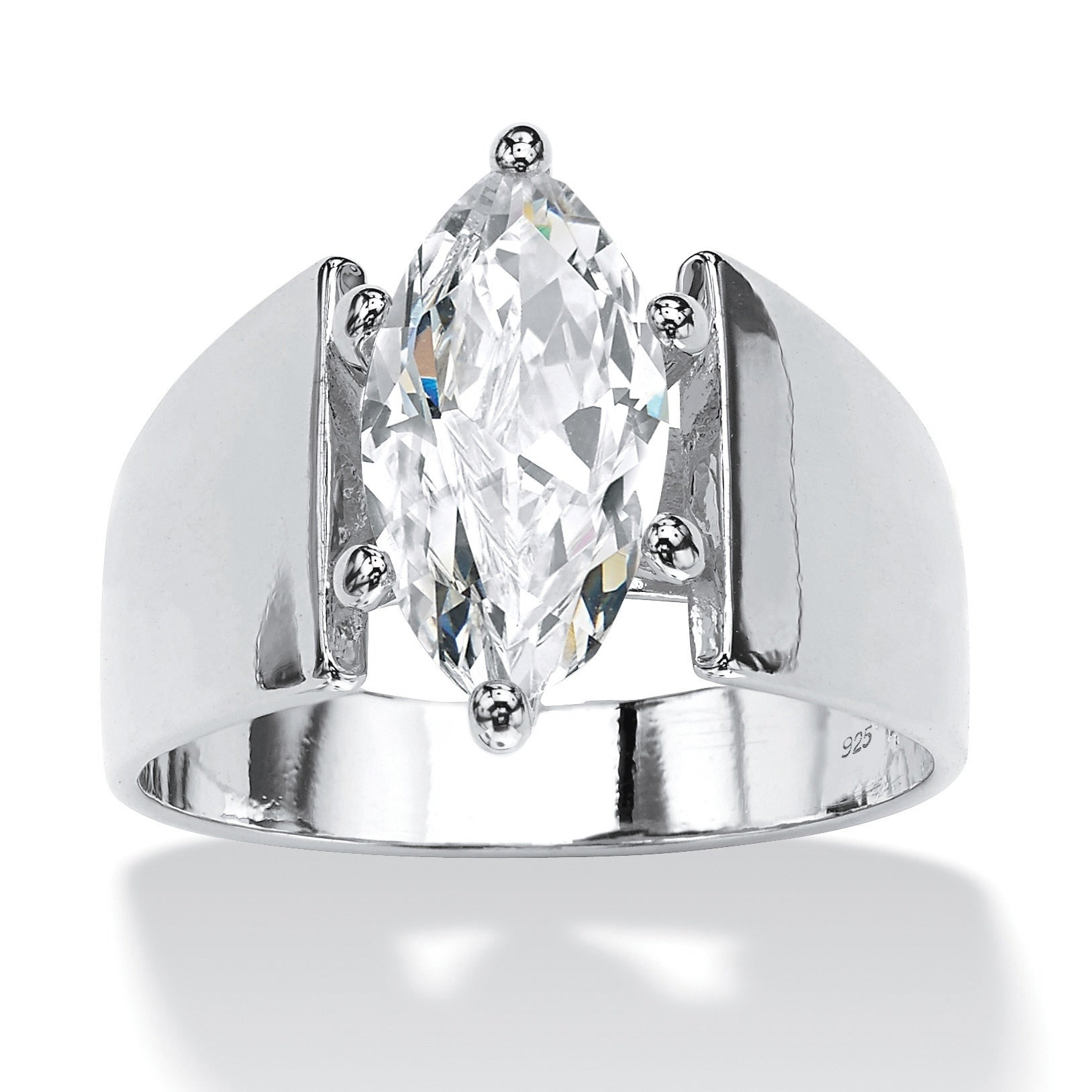 Sterling Silver Cubic Zirconia Wide Band Solitaire Engagement Ring White On Sale Overstock 5901289