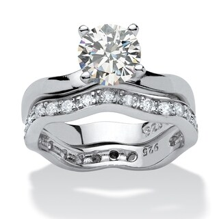 Platinum over Sterling Silver Cubic Zirconia Bridal Ring Set (4 options available)