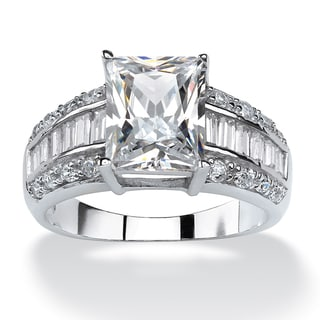 4.94 TCW Emerald-Cut Cubic Zirconia Engagement Anniversary Ring in Platinum over Sterling