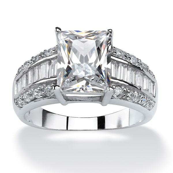 PalmBeach 4.94 TCW Emerald-Cut Cubic Zirconia Engagement Anniversary Ring in Platinum over Sterling Silver Glam CZ