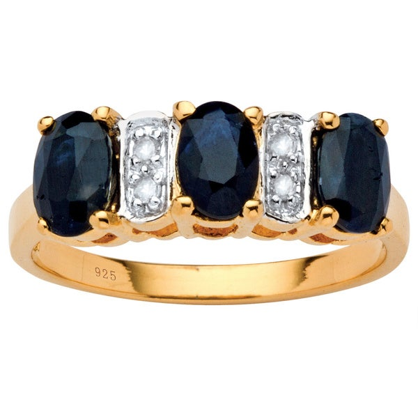 1.80 TCW Oval-Cut Genuine Blue Sapphire and Diamond Accent Ring in 18k Gold Over Sterling