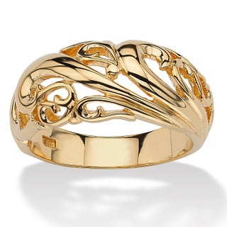 18k Yellow Gold over Sterling Silver Swirl Dome Ring (2 options available)