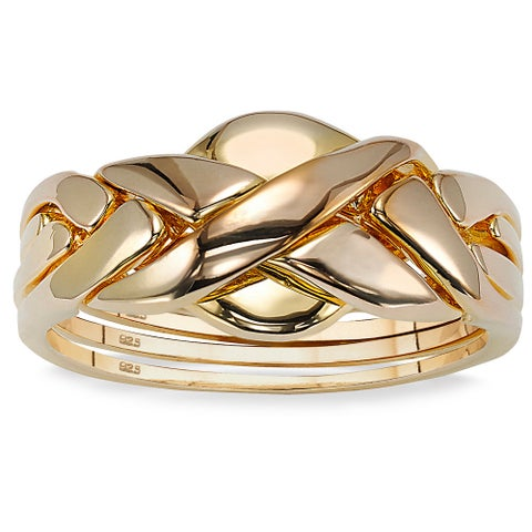 Puzzle Ring in Gold Over Sterling Silver Tailored