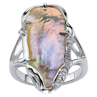 Sterling Silver Cultured Freshwater Biwa Pearl and White Topaz Accented Ring|https://ak1.ostkcdn.com/images/products/5901299/P13606261.jpg?impolicy=medium