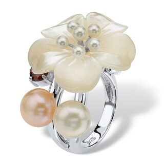 1.10 TCW Flower-Shaped Genuine Mother-Of-Pearl Cultured Freshwater Pearl Sterling Silver F